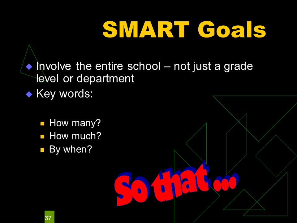 37 SMART Goals Involve the entire school – not just a grade level or department Key words: How many? How much? By when?
