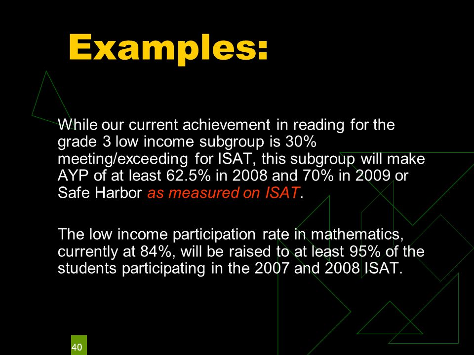 40 Examples: While our current achievement in reading for the grade 3 low income subgroup is 30% meeting/exceeding for ISAT, this subgroup will make AYP of at least 62.5% in 2008 and 70% in 2009 or Safe Harbor as measured on ISAT.