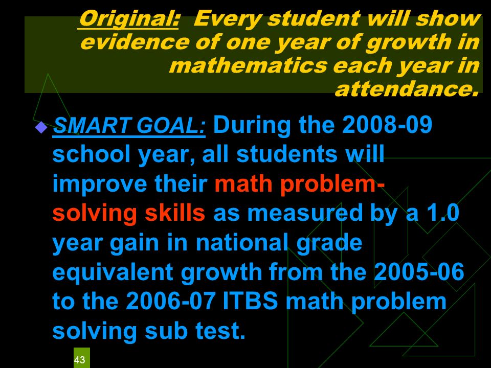 43 Original: Every student will show evidence of one year of growth in mathematics each year in attendance.