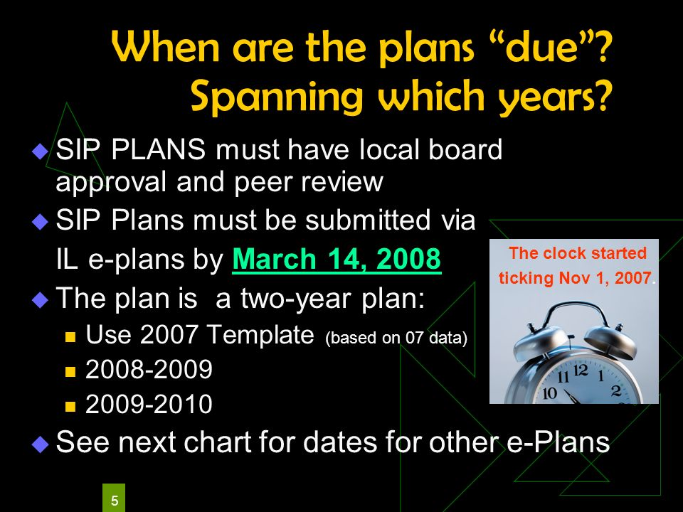 5 When are the plans due? Spanning which years? SIP PLANS must have local board approval and peer review SIP Plans must be submitted via IL e-plans by