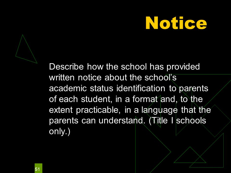 51 Notice Describe how the school has provided written notice about the schools academic status identification to parents of each student, in a format and, to the extent practicable, in a language that the parents can understand.