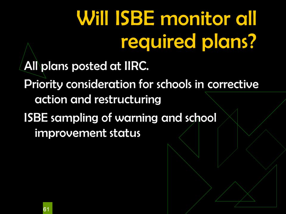 61 Will ISBE monitor all required plans? All plans posted at IIRC. Priority consideration for schools in corrective action and restructuring ISBE samp