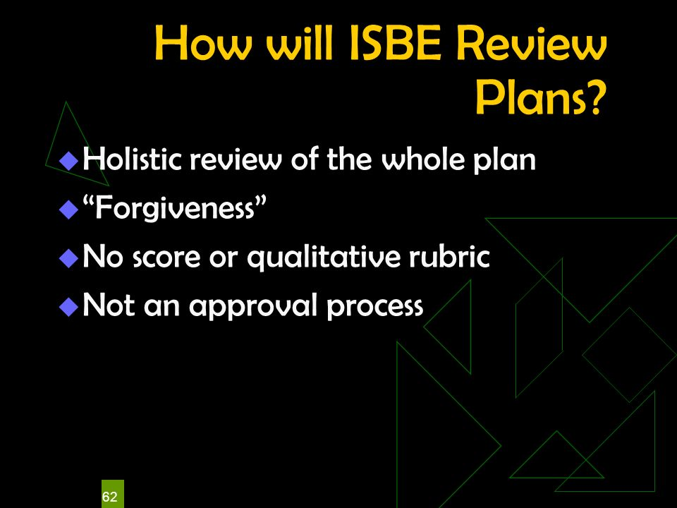 62 How will ISBE Review Plans? Holistic review of the whole plan Forgiveness No score or qualitative rubric Not an approval process