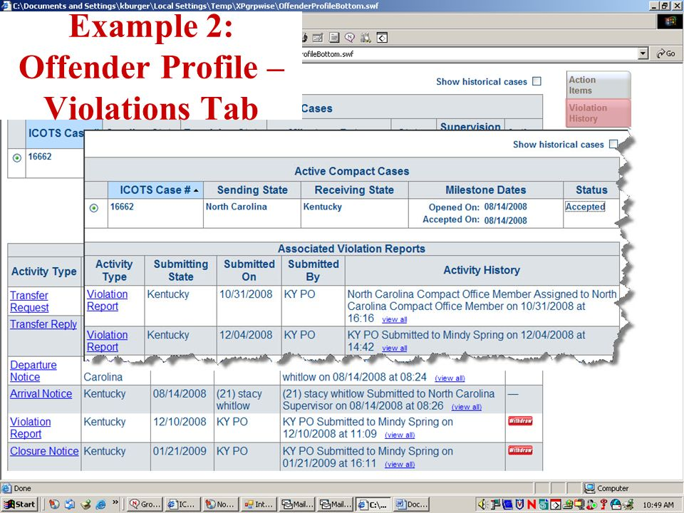 Example 2: Offender Profile – Violations Tab