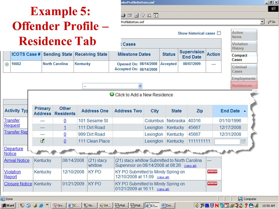 Example 5: Offender Profile – Residence Tab