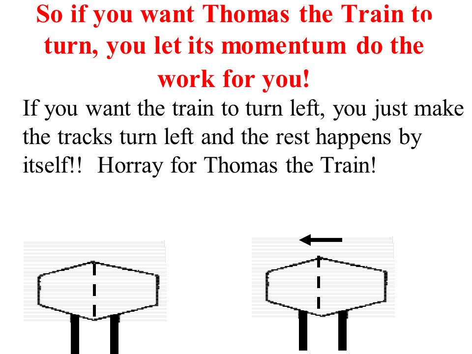 So if you want Thomas the Train to turn, you let its momentum do the work for you! If you want the train to turn left, you just make the tracks turn l