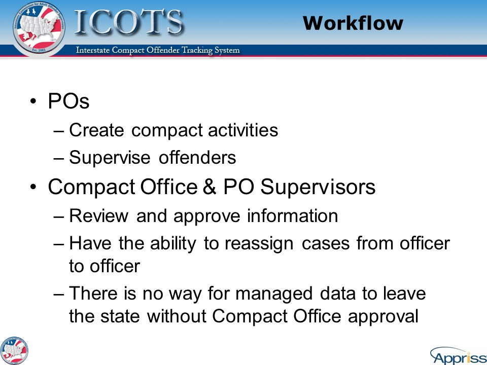 Workflow POs –Create compact activities –Supervise offenders Compact Office & PO Supervisors –Review and approve information –Have the ability to reas