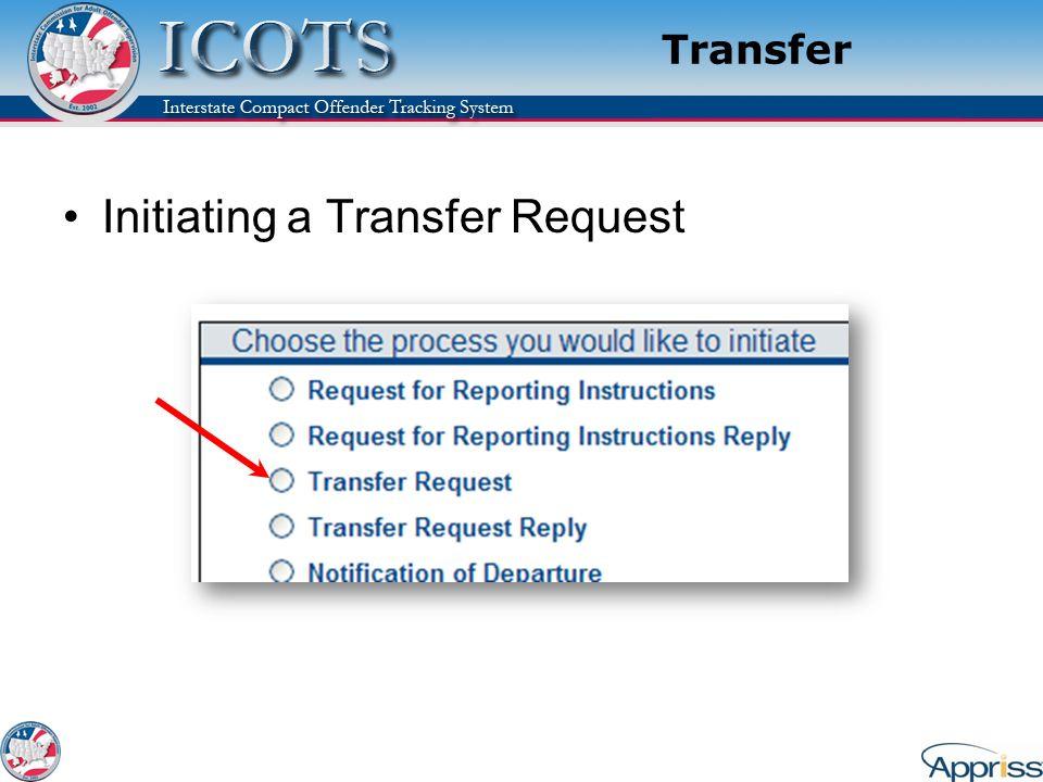 Transfer Initiating a Transfer Request