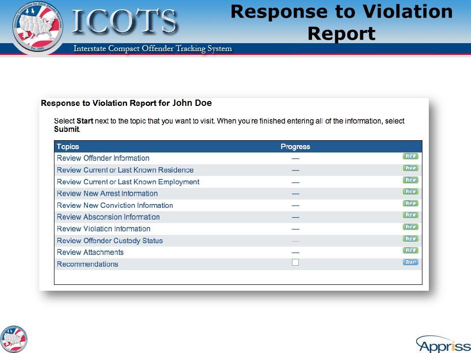 Response to Violation Report