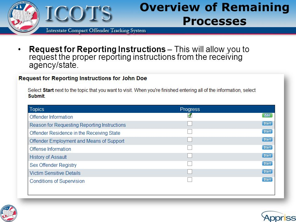 Overview of Remaining Processes Request for Reporting Instructions – This will allow you to request the proper reporting instructions from the receivi