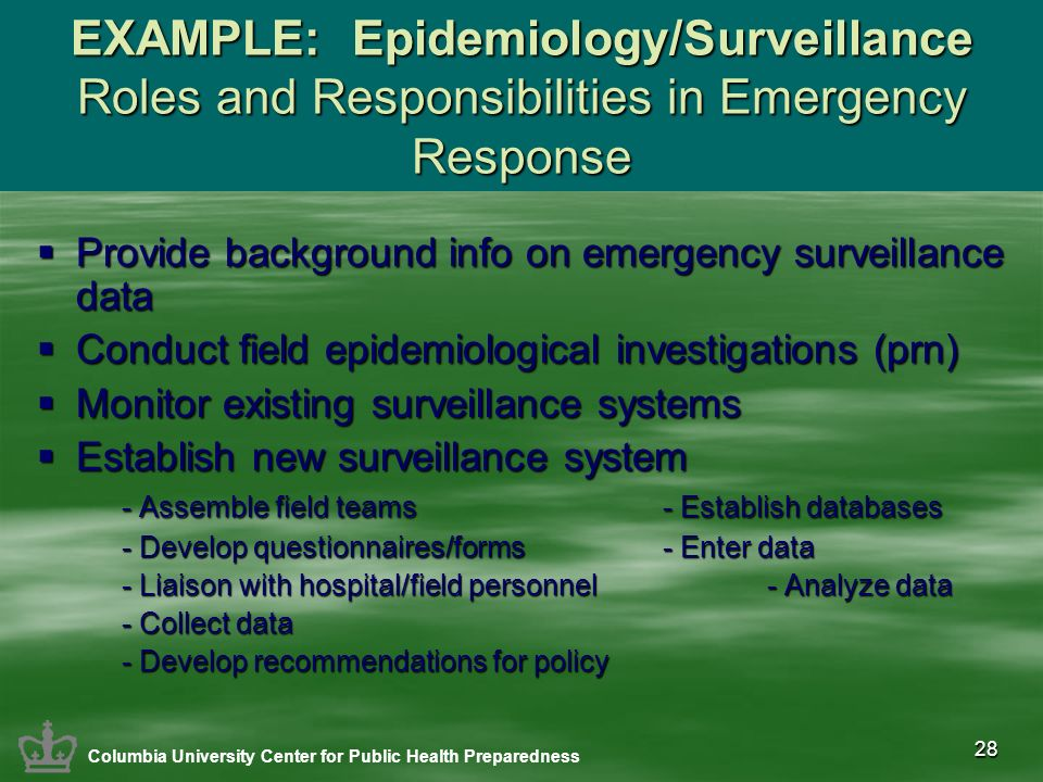 28 EXAMPLE: Epidemiology/Surveillance Roles and Responsibilities in Emergency Response Provide background info on emergency surveillance data Provide