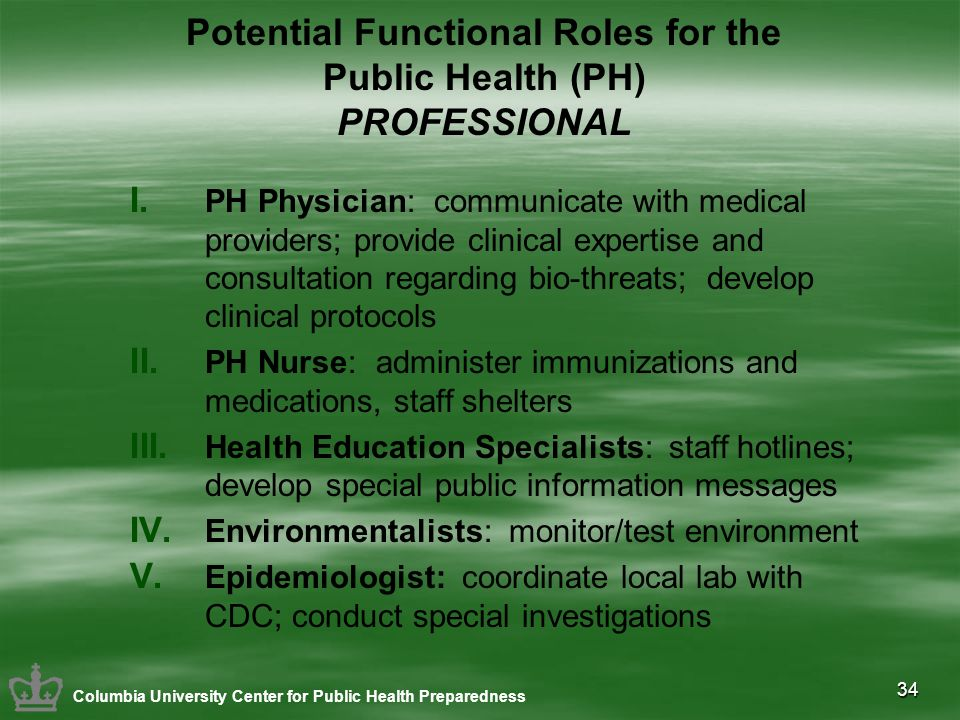 34 Potential Functional Roles for the Public Health (PH) PROFESSIONAL I. PH Physician: communicate with medical providers; provide clinical expertise