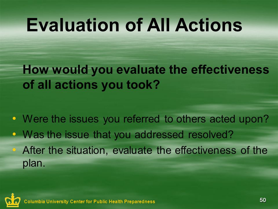 50 Evaluation of All Actions How would you evaluate the effectiveness of all actions you took? Were the issues you referred to others acted upon? Was