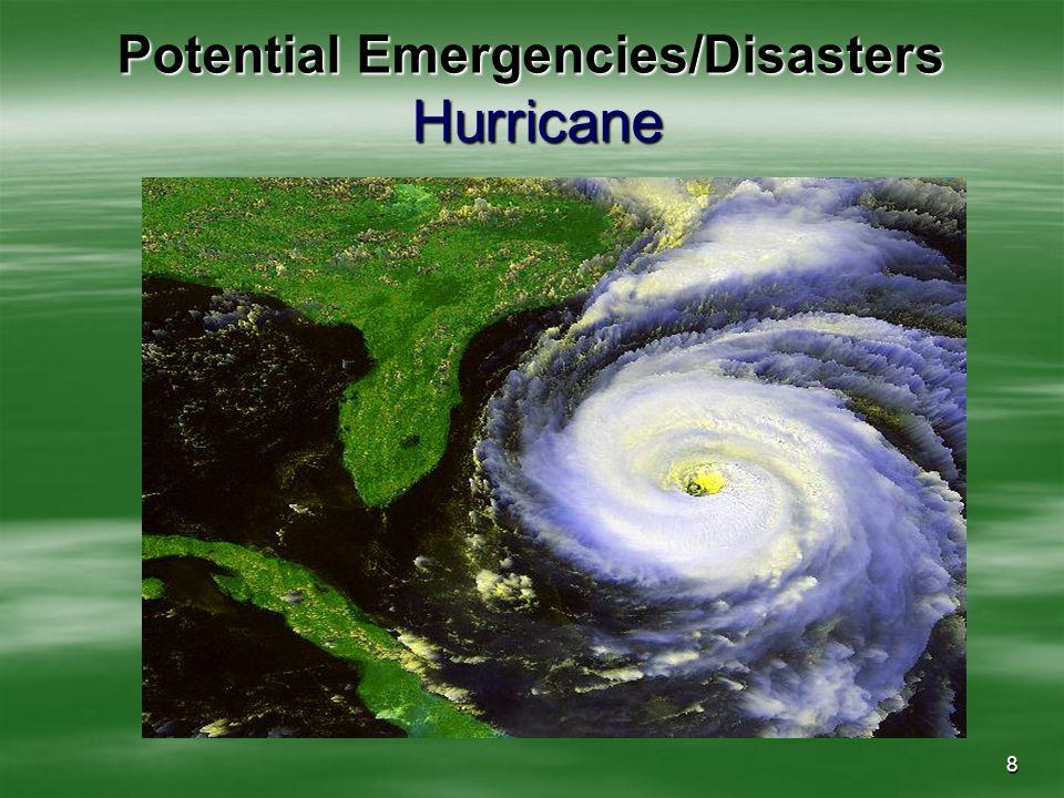 8 Potential Emergencies/Disasters Hurricane