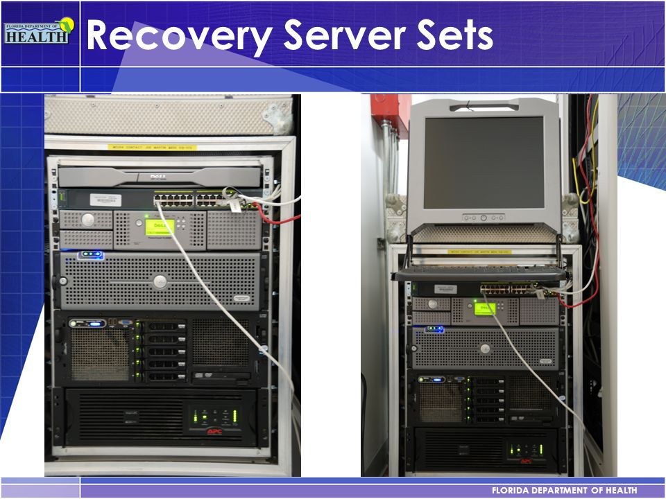 FLORIDA DEPARTMENT OF HEALTH Recovery Server Sets