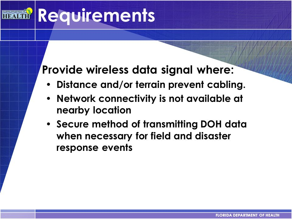 Requirements Provide wireless data signal where: Distance and/or terrain prevent cabling. Network connectivity is not available at nearby location Sec
