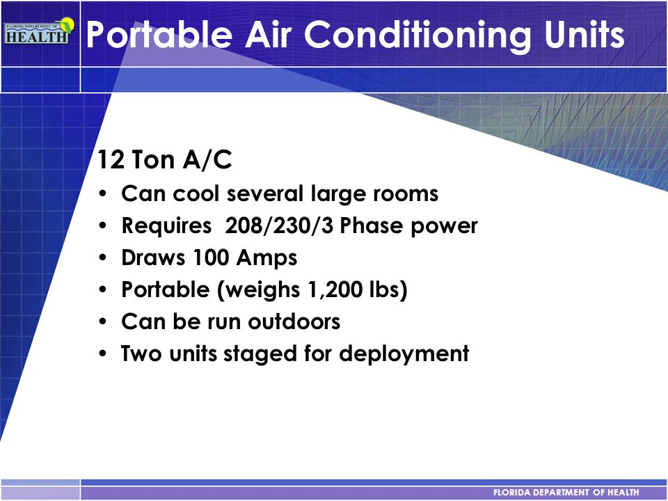 FLORIDA DEPARTMENT OF HEALTH Portable Air Conditioning Units 12 Ton A/C Can cool several large rooms Requires 208/230/3 Phase power Draws 100 Amps Por
