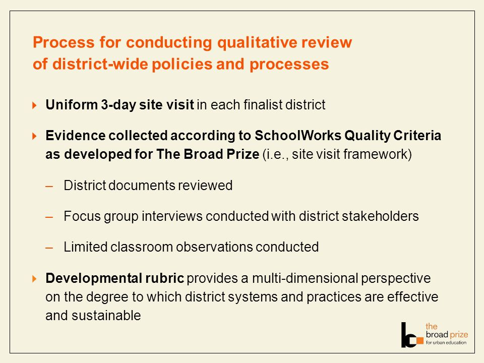Process for conducting qualitative review of district-wide policies and processes Uniform 3-day site visit in each finalist district Evidence collecte