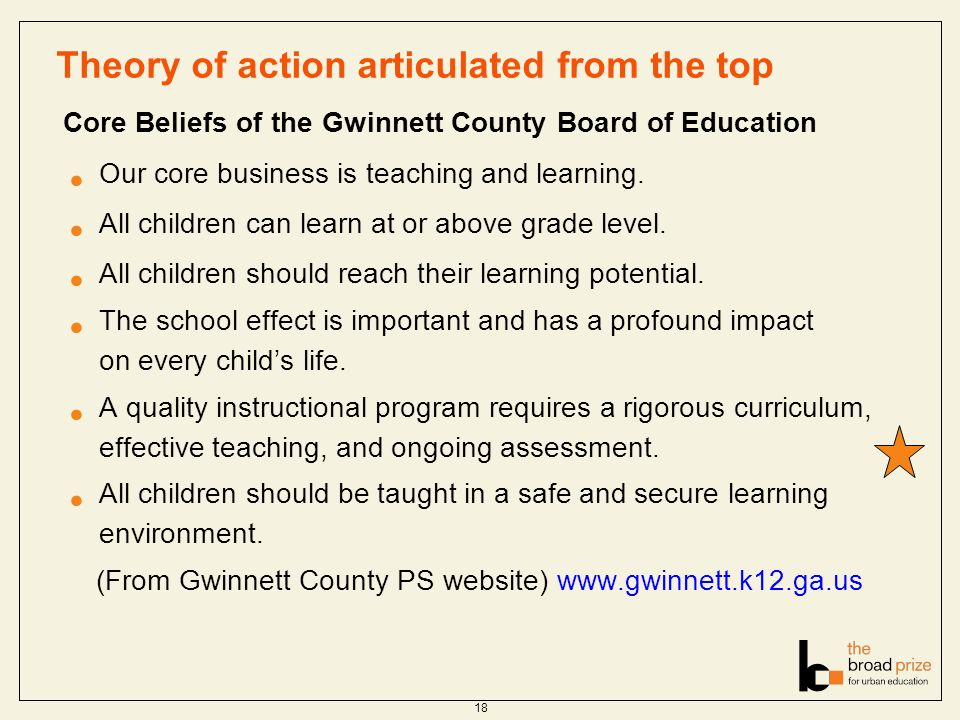 Theory of action articulated from the top Core Beliefs of the Gwinnett County Board of Education Our core business is teaching and learning.