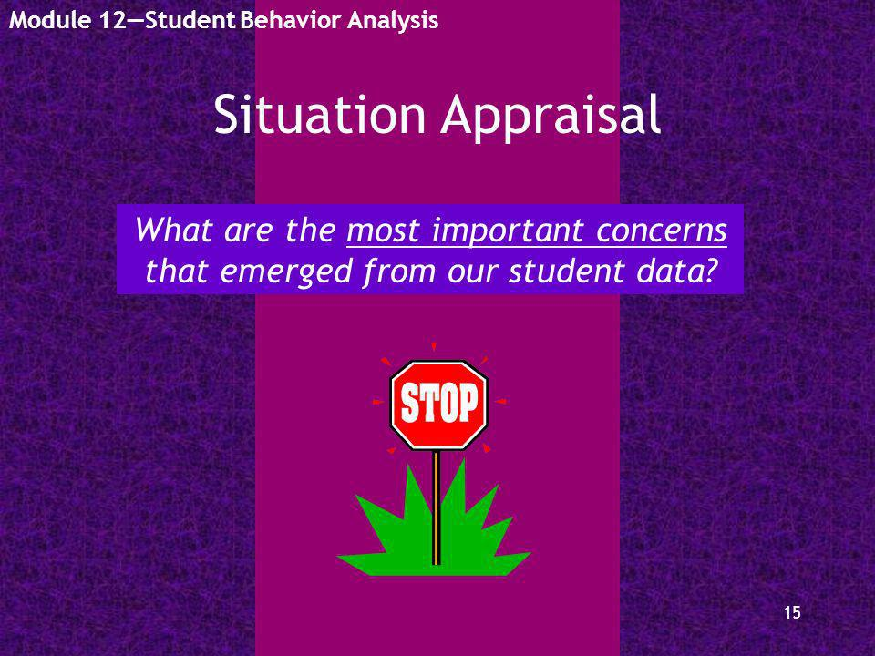 15 Situation Appraisal Module 12Student Behavior Analysis What are the most important concerns that emerged from our student data?