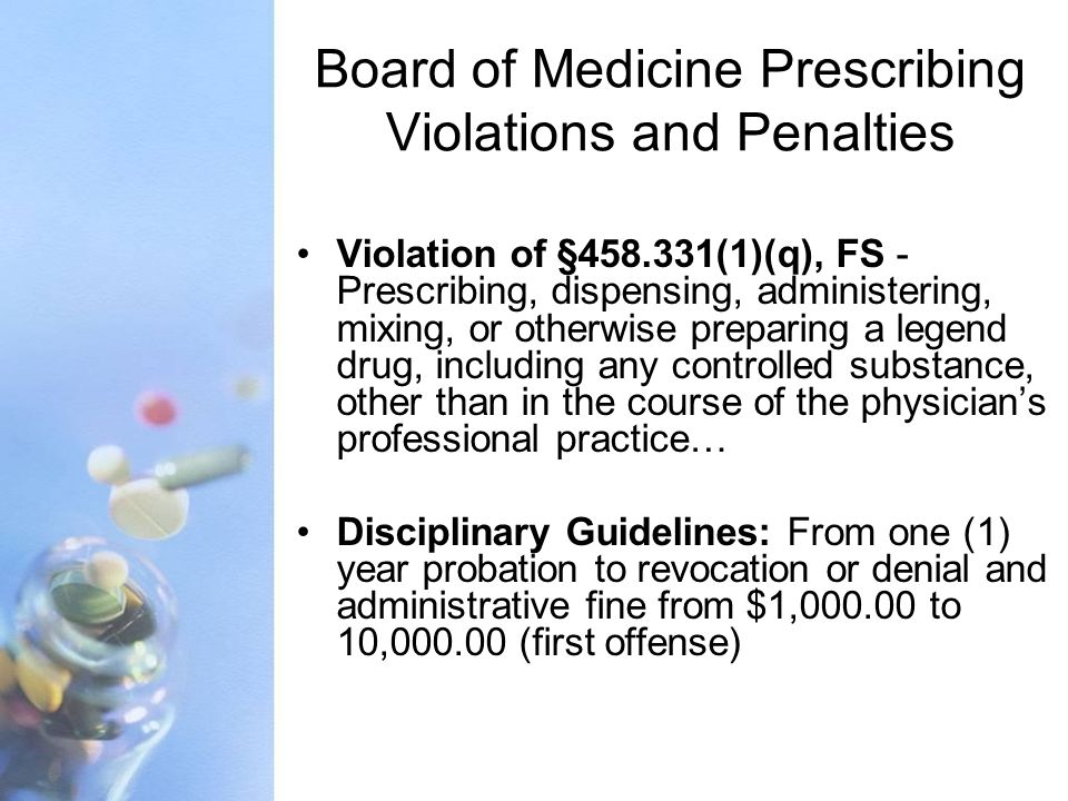 Board of Medicine Prescribing Violations and Penalties Violation of §458.331(1)(q), FS - Prescribing, dispensing, administering, mixing, or otherwise