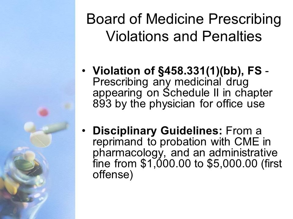 Board of Medicine Prescribing Violations and Penalties Violation of §458.331(1)(bb), FS - Prescribing any medicinal drug appearing on Schedule II in c