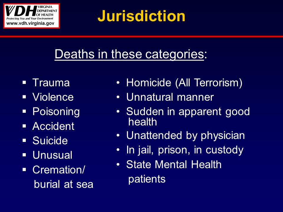 Jurisdiction Trauma Violence Poisoning Accident Suicide Unusual Cremation/ burial at sea Deaths in these categories: Homicide (All Terrorism) Unnatural manner Sudden in apparent good health Unattended by physician In jail, prison, in custody State Mental Health patients