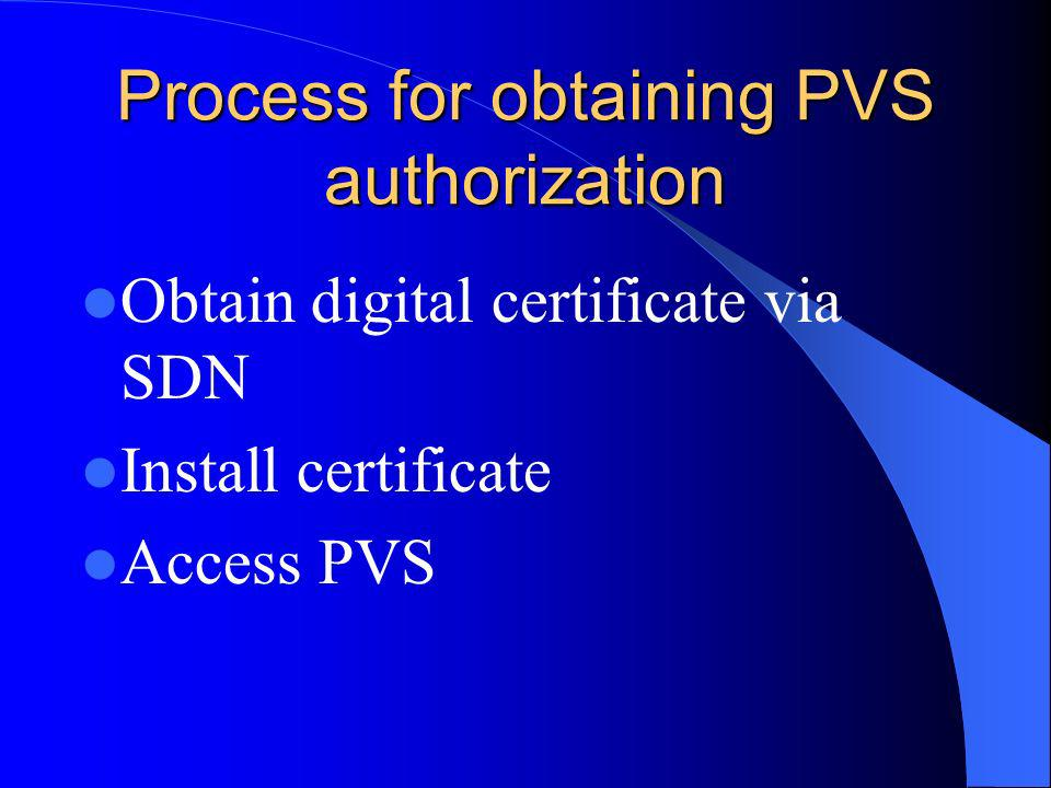 Process for obtaining PVS authorization Obtain digital certificate via SDN Install certificate Access PVS