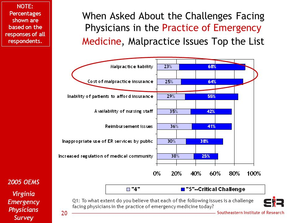 Southeastern Institute of Research 2005 OEMS Virginia Emergency Physicians Survey 20 When Asked About the Challenges Facing Physicians in the Practice