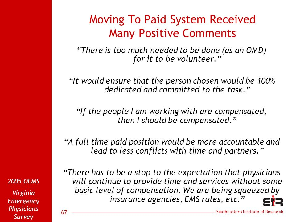 Southeastern Institute of Research 2005 OEMS Virginia Emergency Physicians Survey 67 Moving To Paid System Received Many Positive Comments There is to