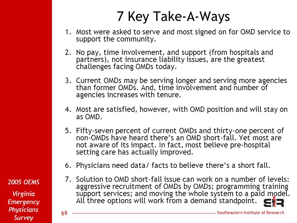 Southeastern Institute of Research 2005 OEMS Virginia Emergency Physicians Survey 69 7 Key Take-A-Ways 1.Most were asked to serve and most signed on f