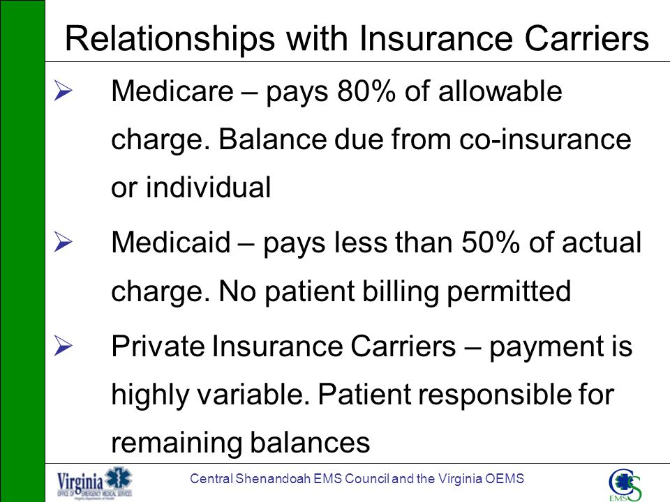 Central Shenandoah EMS Council and the Virginia OEMS Relationships with Insurance Carriers Medicare – pays 80% of allowable charge. Balance due from c