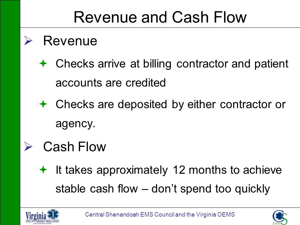 Central Shenandoah EMS Council and the Virginia OEMS Revenue and Cash Flow Revenue Checks arrive at billing contractor and patient accounts are credit