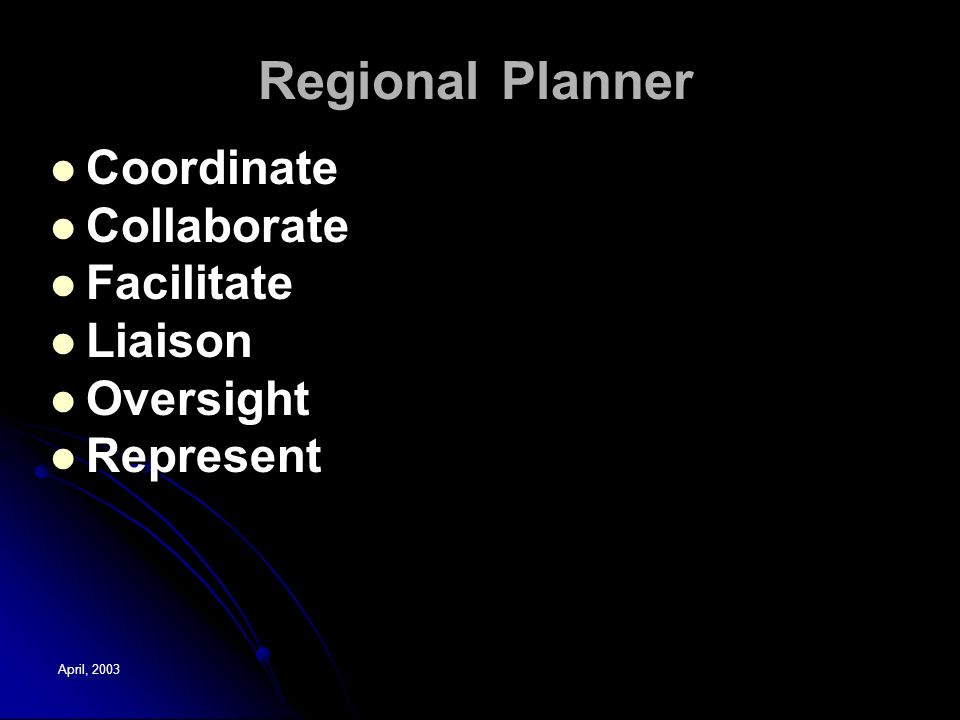 April, 2003 Regional Planner Coordinate Collaborate Facilitate Liaison Oversight Represent Coordinate Collaborate Facilitate Liaison Oversight Represent