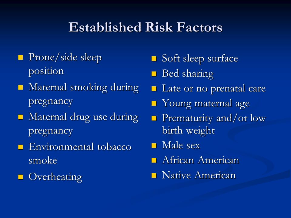 Established Risk Factors Prone/side sleep position Prone/side sleep position Maternal smoking during pregnancy Maternal smoking during pregnancy Mater