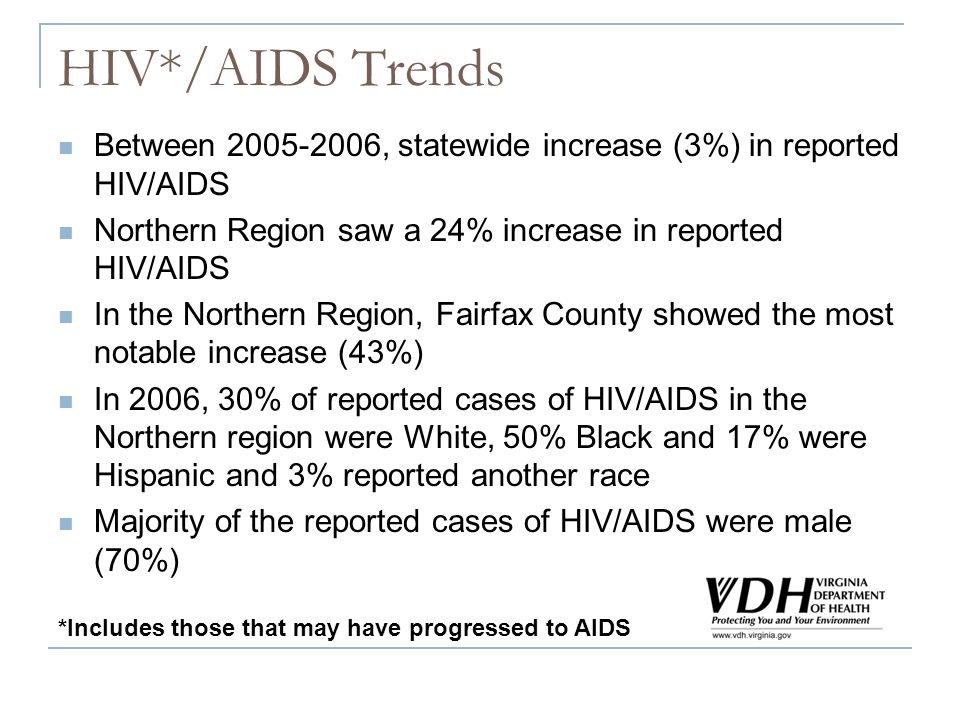 HIV*/AIDS Trends Between 2005-2006, statewide increase (3%) in reported HIV/AIDS Northern Region saw a 24% increase in reported HIV/AIDS In the Northe