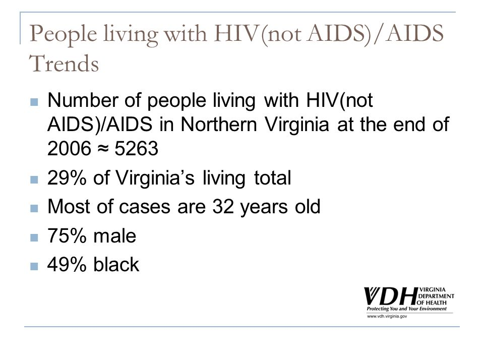 People living with HIV(not AIDS)/AIDS Trends Number of people living with HIV(not AIDS)/AIDS in Northern Virginia at the end of % of Virginias living total Most of cases are 32 years old 75% male 49% black