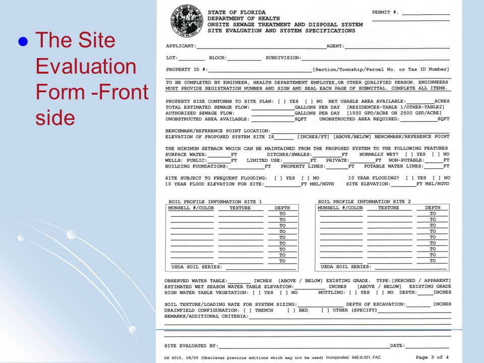 The Site Evaluation Form -Front side