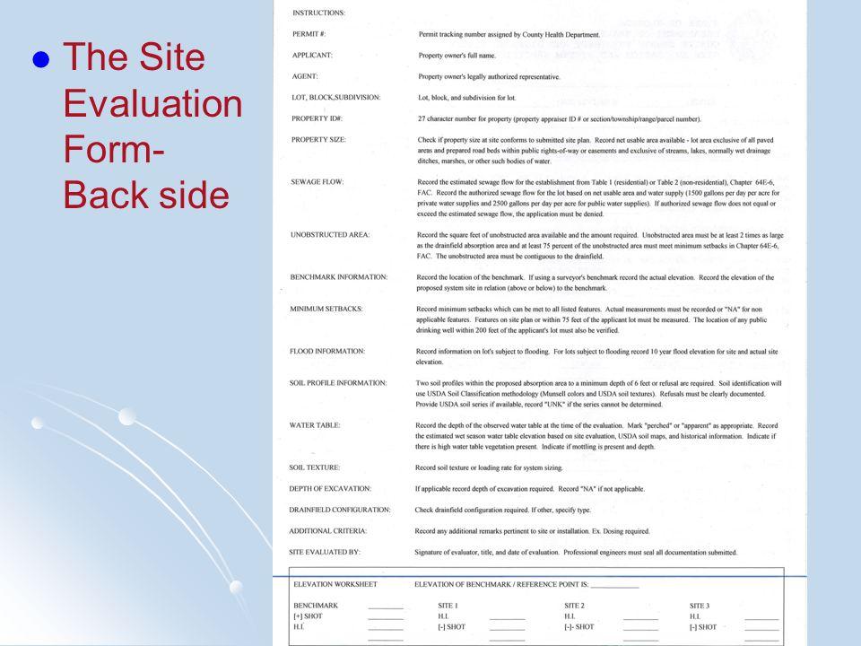 The Site Evaluation Form- Back side