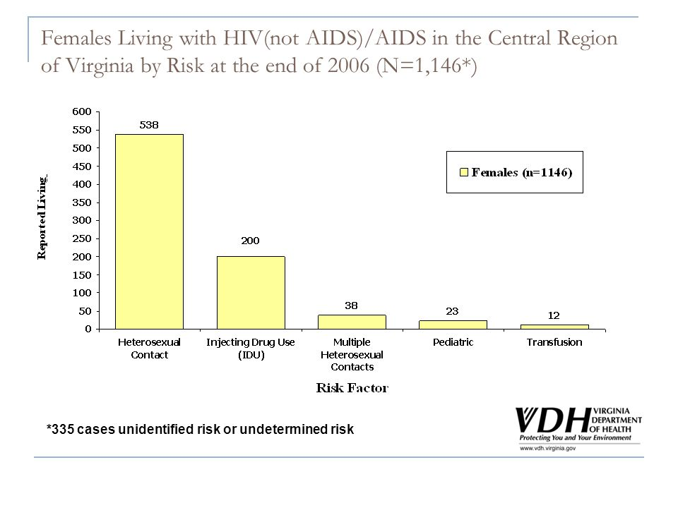Females Living with HIV(not AIDS)/AIDS in the Central Region of Virginia by Risk at the end of 2006 (N=1,146*) *335 cases unidentified risk or undeter