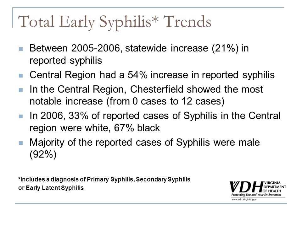 Total Early Syphilis* Trends Between 2005-2006, statewide increase (21%) in reported syphilis Central Region had a 54% increase in reported syphilis I