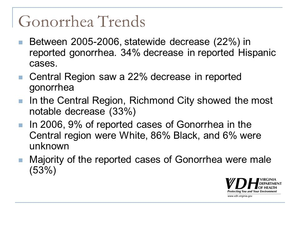 Gonorrhea Trends Between 2005-2006, statewide decrease (22%) in reported gonorrhea. 34% decrease in reported Hispanic cases. Central Region saw a 22%