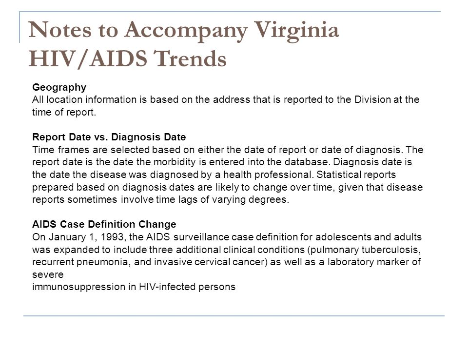 Notes to Accompany Virginia HIV/AIDS Trends Geography All location information is based on the address that is reported to the Division at the time of