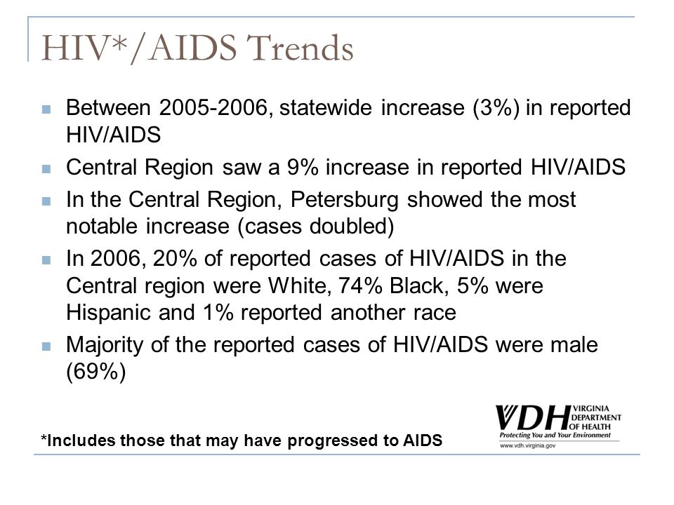 HIV*/AIDS Trends Between 2005-2006, statewide increase (3%) in reported HIV/AIDS Central Region saw a 9% increase in reported HIV/AIDS In the Central