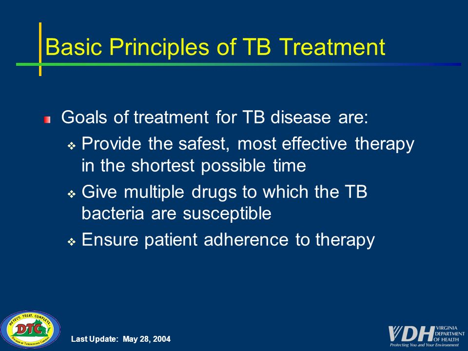 Last Update: May 28, 2004 Basic Principles of TB Treatment Goals of treatment for TB disease are: Provide the safest, most effective therapy in the shortest possible time Give multiple drugs to which the TB bacteria are susceptible Ensure patient adherence to therapy