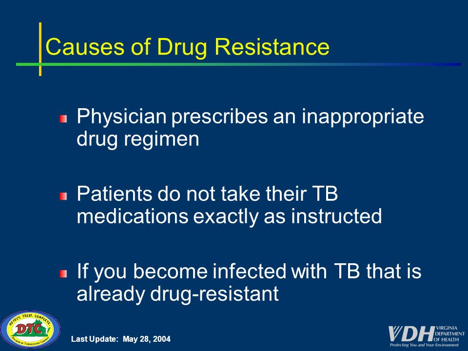 Last Update: May 28, 2004 Causes of Drug Resistance Physician prescribes an inappropriate drug regimen Patients do not take their TB medications exactly as instructed If you become infected with TB that is already drug-resistant