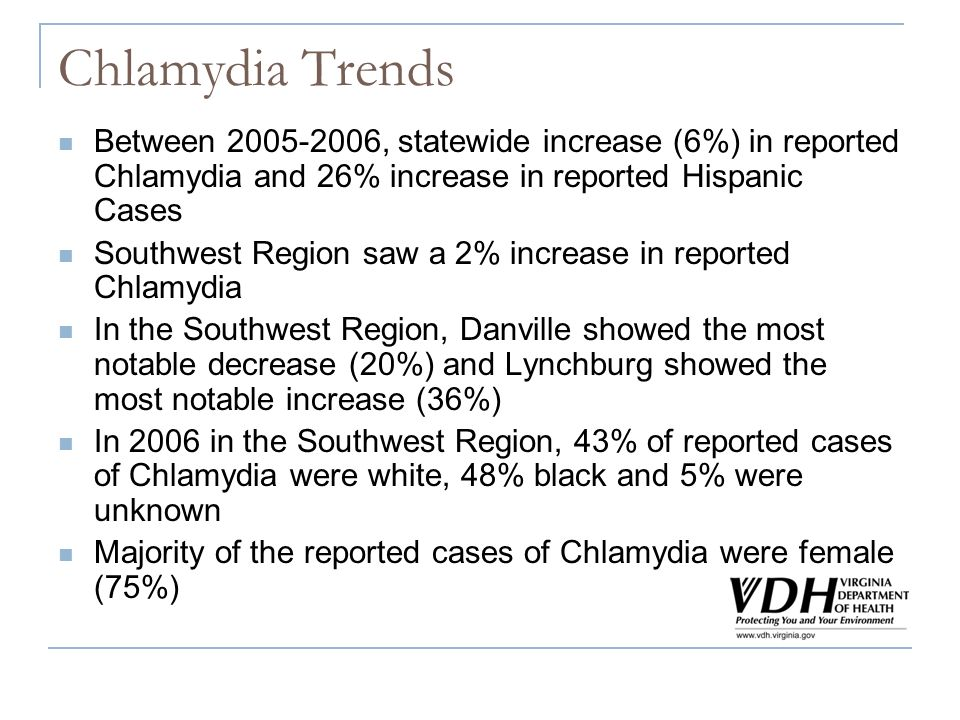 Chlamydia Trends Between 2005-2006, statewide increase (6%) in reported Chlamydia and 26% increase in reported Hispanic Cases Southwest Region saw a 2