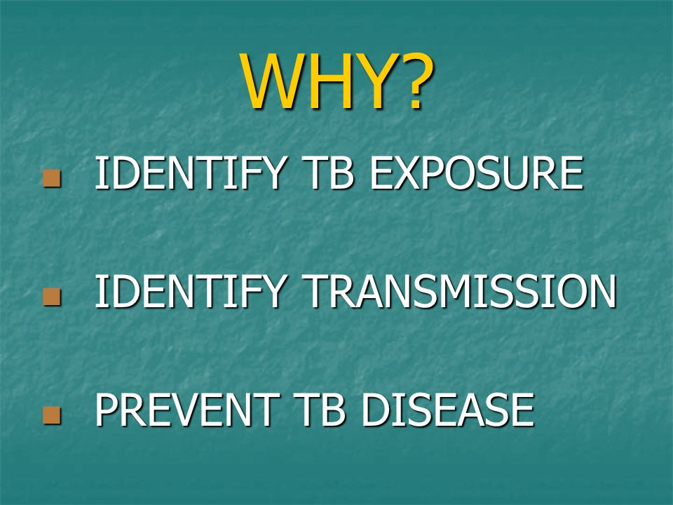 WHY? IDENTIFY TB EXPOSURE IDENTIFY TB EXPOSURE IDENTIFY TRANSMISSION IDENTIFY TRANSMISSION PREVENT TB DISEASE PREVENT TB DISEASE