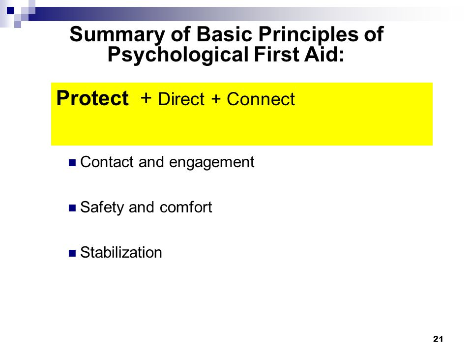 20 Psychological First Aid Protect Direct Connect
