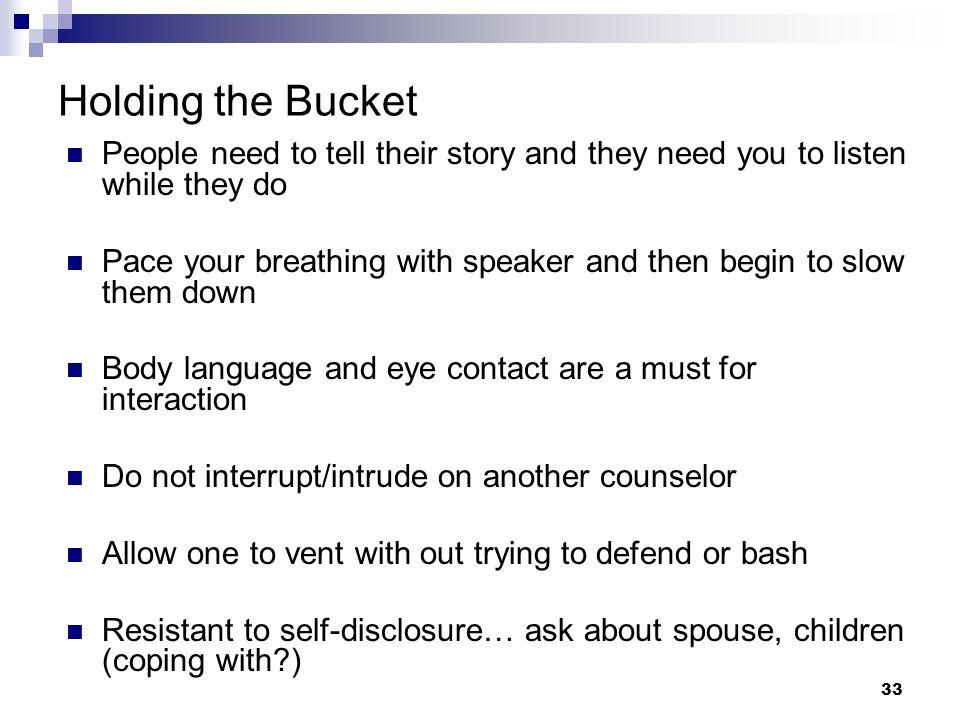 32 Basic Skills of Crisis Intervention Active listening Reflecting Normalizing Prioritizing Assessment Stress management Holding the bucket